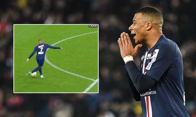 Считанные сантиметры помешали Мбаппе забить феноменальный гол рабоной в Кубке французской лиги
