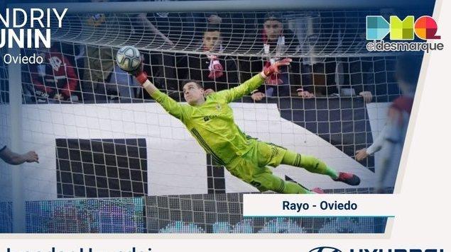 Лунин угадал угол удара, однако пропустил с пенальти. Овьедо сыграл вничью с Райо Вальекано