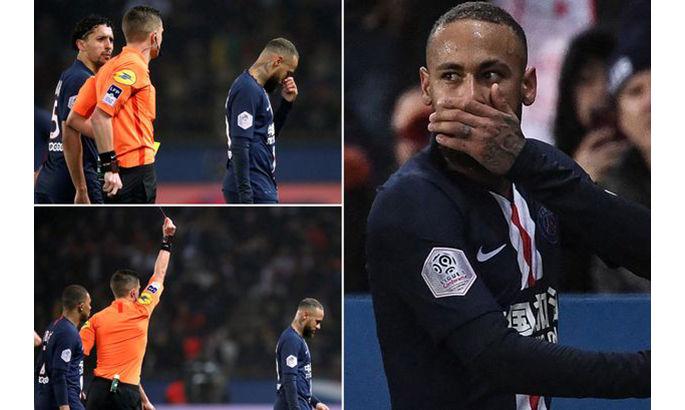 """""""Он нервничает и реагирует"""". Неймар был удален в матче с Бордо за грубейший подкат сзади"""