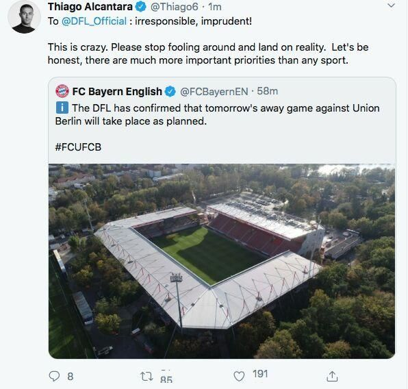 Тиаго обвинил Бундеслигу в безответственности, но затем изменил свой пост на обращение к фанатам - изображение 1
