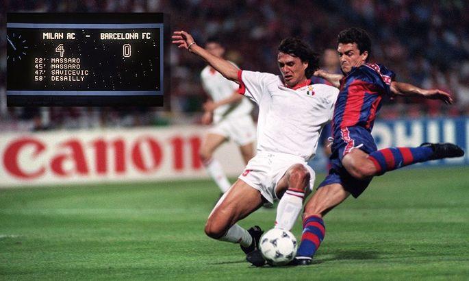 Крупнейший разгром в истории ЛЧ: 26 лет назад Милан уничтожил Барселону в финале турнира