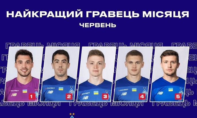 Динамо назвало п'ятірку претендентів на звання гравця місяця