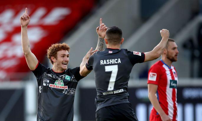 Дикованная игра в Хайденхайме завершилась результативной ничьей - Вердер остается в Бундеслиге