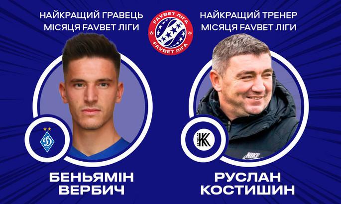 Костишин і Вербіч - найкращі в УПЛ за підсумками липня