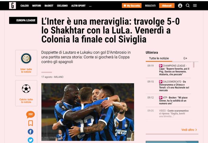 Интер неистовствует во втором тайме. Обзор итальянских СМИ после матча Интер - Шахтер - изображение 1