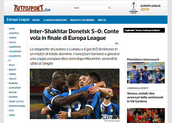 Интер неистовствует во втором тайме. Обзор итальянских СМИ после матча Интер - Шахтер - изображение 2