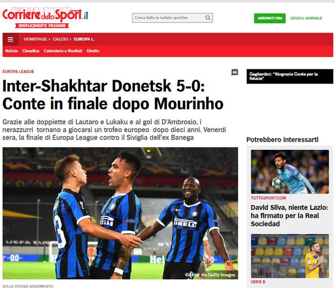 Интер неистовствует во втором тайме. Обзор итальянских СМИ после матча Интер - Шахтер - изображение 3