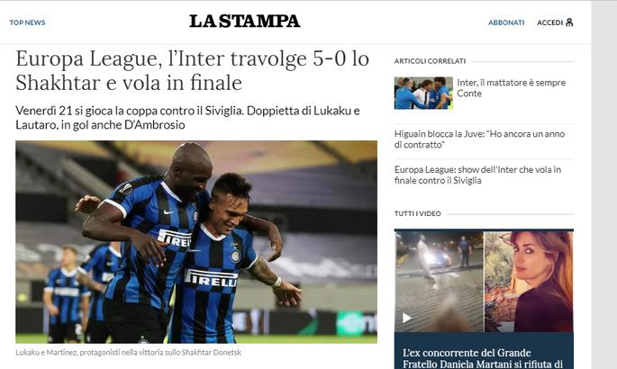 Интер неистовствует во втором тайме. Обзор итальянских СМИ после матча Интер - Шахтер