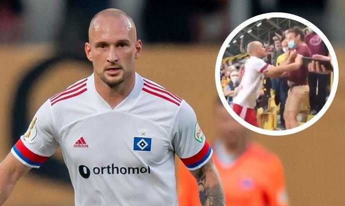 Футболист Гамбурга напал на фаната на трибунах после вылета команды из Кубка Германии