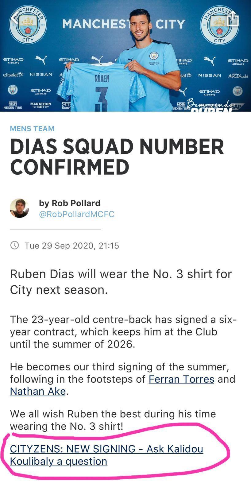 """""""Постав запитання Кулібалі"""". Прес-служба Манчестер Сіті допустила помилку в новині про Рубена Діаша - изображение 1"""