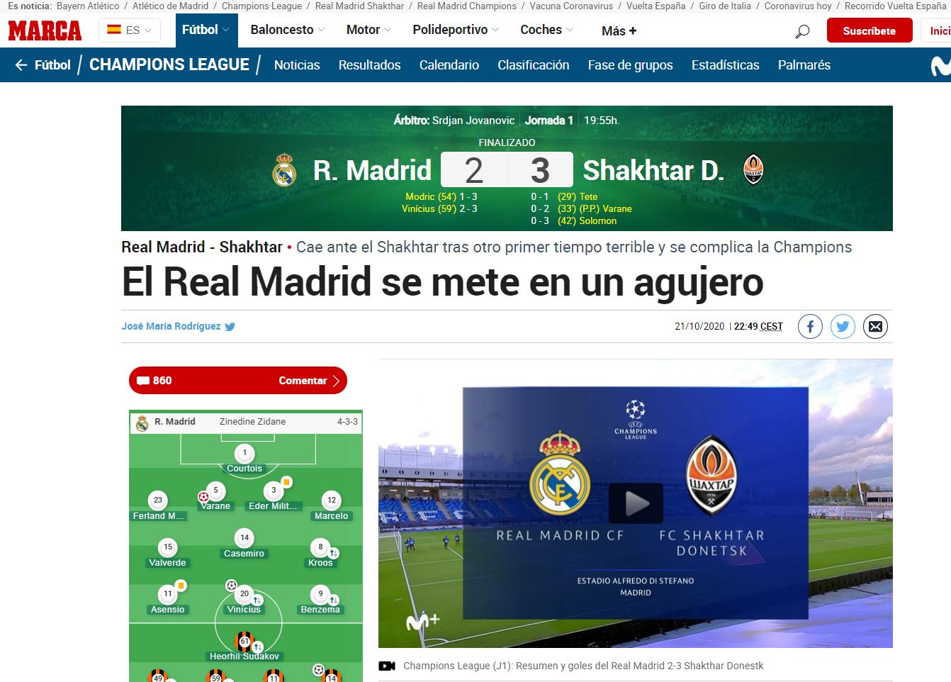 Поражение от Схатера, в самом легком матче группы, от команды, которая далеко не пройдет. Испанские СМИ – о провале Реала - изображение 1
