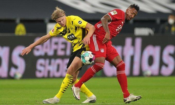 Боруссия Дортмунд - Бавария 2:3. Холанд и Левандовски обменялись голами, но у Баварии есть еще Сане
