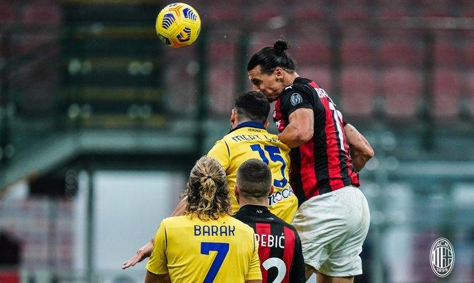 Ибрагимович нанес 14 ударов за матч и спас Милан от поражения на последних секундах. ВИДЕО