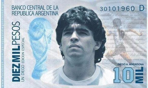 В Аргентине активно подписывают петицию для выпуска купюры с изображением Марадоны