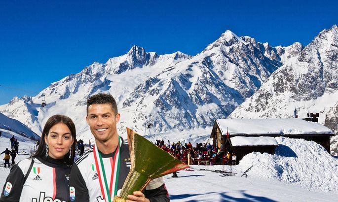 Нарушая все протоколы: Криштиану Роналду заметили вместе с возлюбленной на горнолыжном курорте