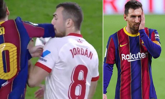 Месси ударил футболиста Севильи локтем в лицо, но горчичник получил оппонент Лионеля