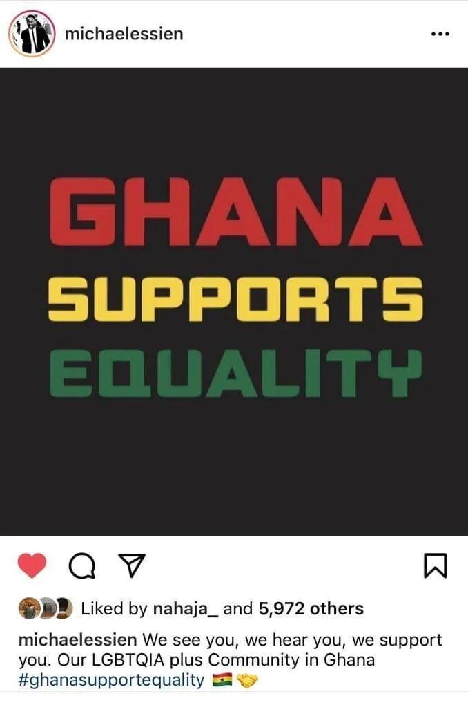 Нетолерантная Гана: Эссьен удалил пост в поддержку ЛГБТ после шквала критики - изображение 1