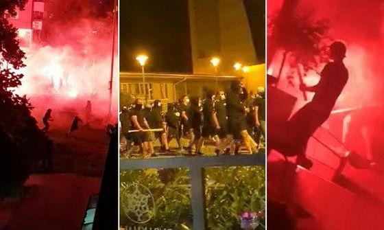 Фаер-шоу и биты. Фанаты загребского Динамо устроили масштабную потасовку с ультрас Легии