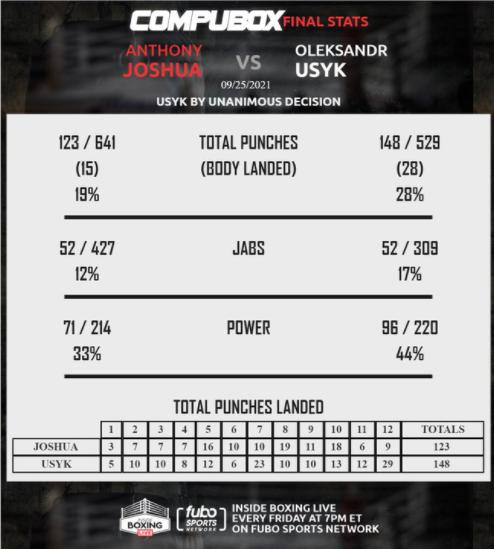 Усик – Джошуа: Статистика ударів за увесь бій - изображение 1